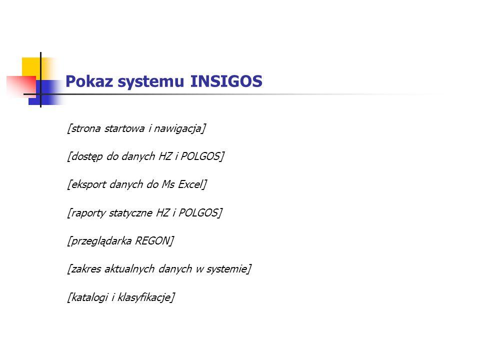 Pokaz systemu INSIGOS [strona startowa i nawigacja]